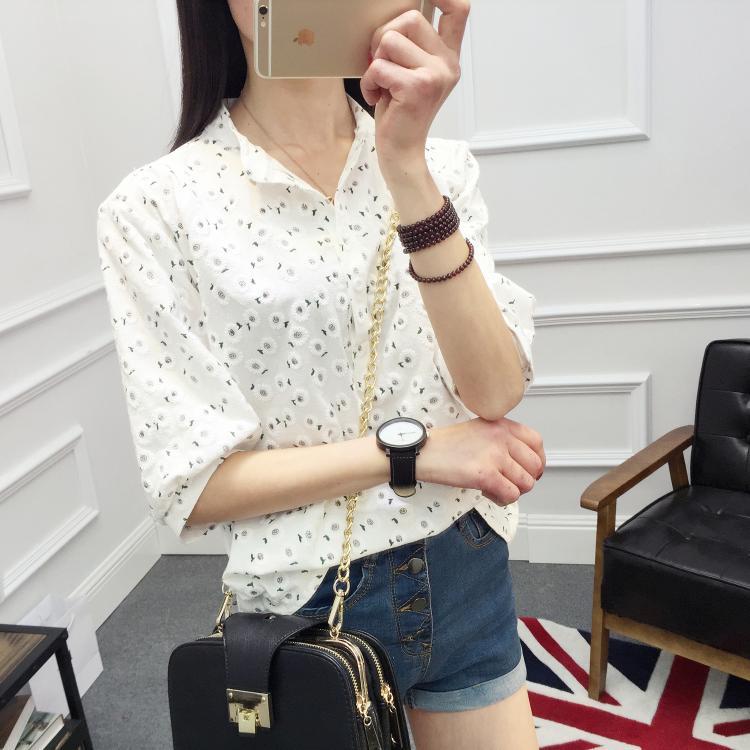 プリント中袖/五分袖ファッション一般なし一般夏折襟プルオーバーシャツ・ブラウス