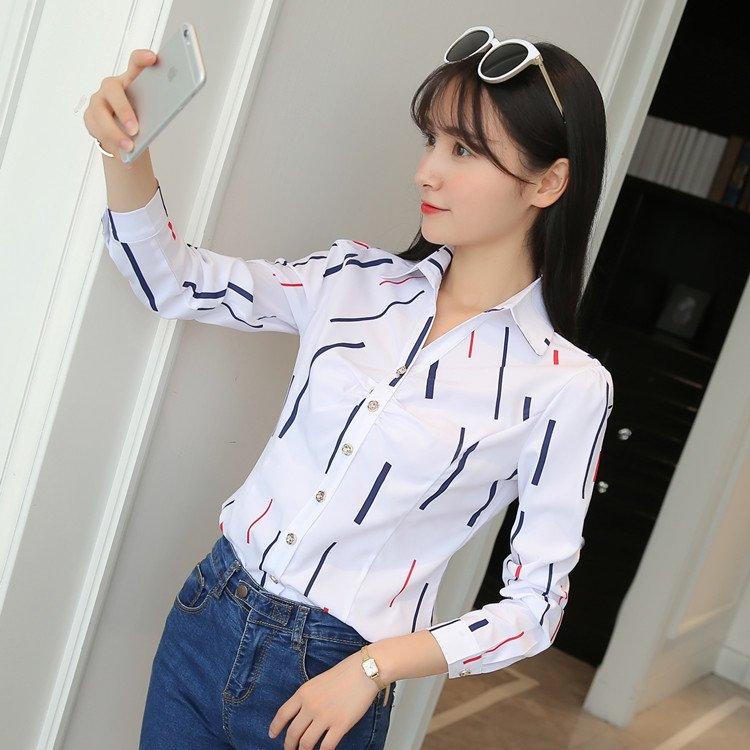 ストライプ柄ポリエステル長袖ファッション一般プリント一般春折り襟シングルブレスト写真通りシャツ・ブラウス
