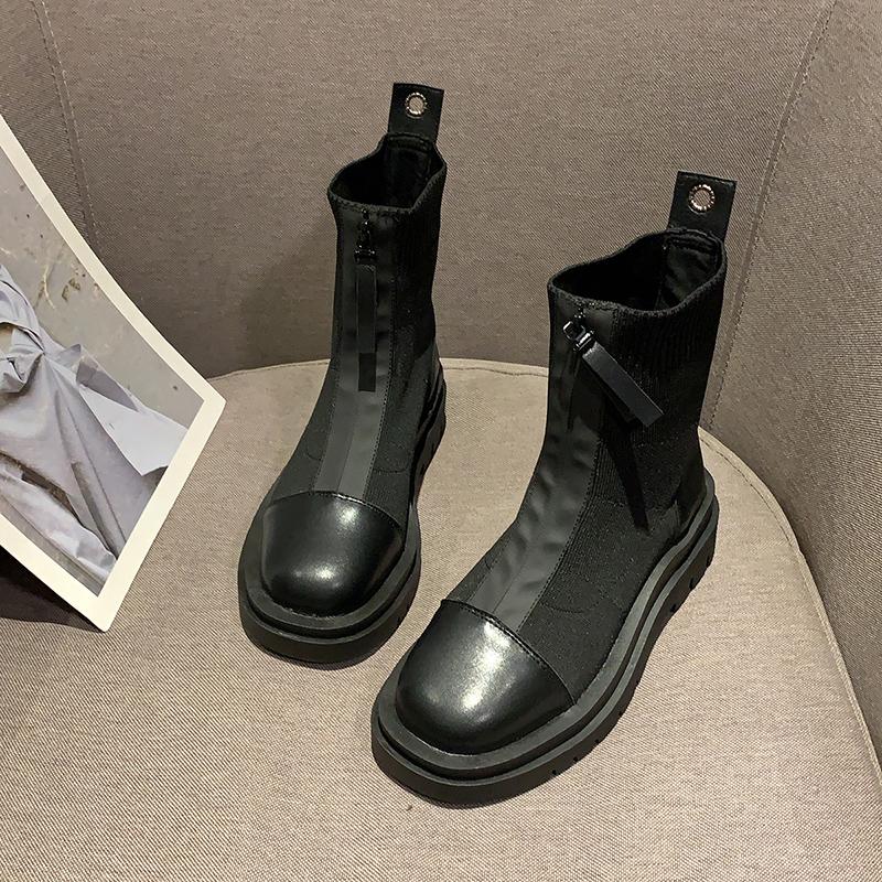 秋冬PUポリエステルその他カジュアルレトロファッションシンプル切り替え厚底丸トゥプラットフォームブーツ