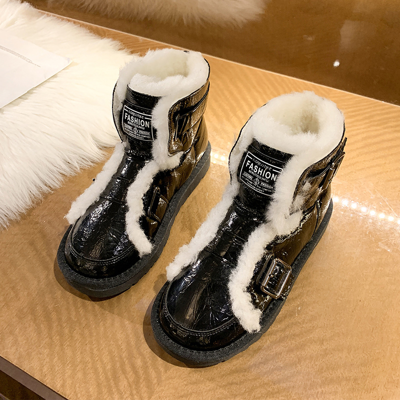 秋冬コットンファッションフラットヒール丸トゥフラットヒールブーツ