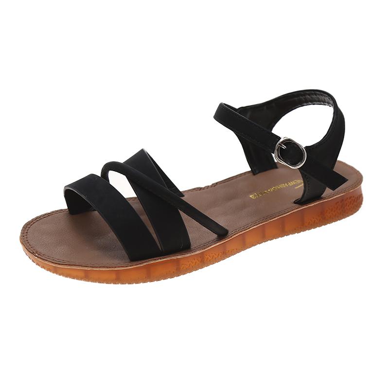 痛くない 歩きやすい 美脚 疲れにくい ぺたんこ 春夏 PU カジュアル シンプル フラットヒール 丸トゥ フラットシューズ サンダル