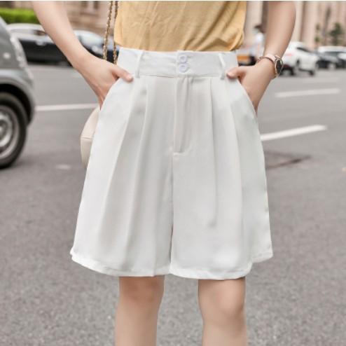 無地ポリエステルシンプルファッションカジュアルギャザー飾りボタン春夏ハイウエストショート丈(3分4分丈)ショートパンツ