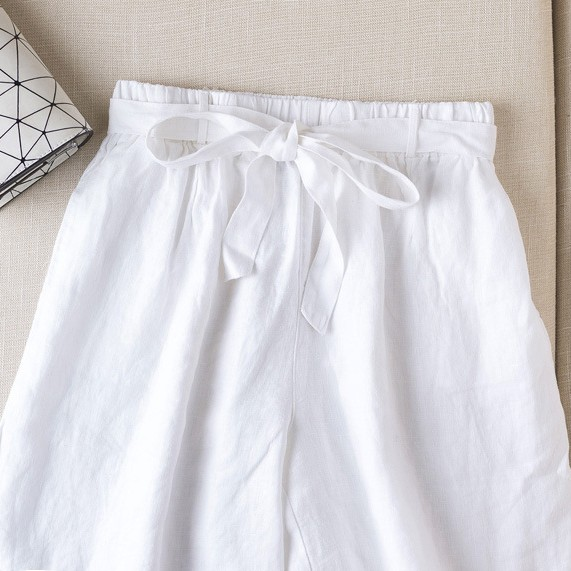 無地リネン生地ファッションなし春夏秋ブラウンホワイトハイウエストショート丈(3分4分丈)ショートパンツ