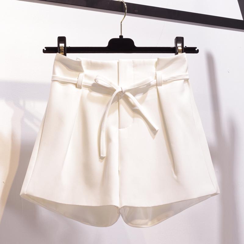 無地ポリエステルファッション切り替えリボン夏ホワイトブラックアプリコットハイウエストショート丈(3分4分丈)ショートパンツ