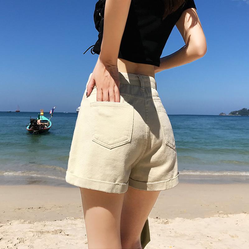 無地デニムファッションなし夏写真通りハイウエストショート丈(3分4分丈)ショートパンツ