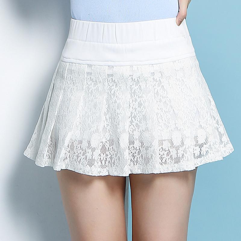 無地ポリエステルファッション透かし彫りレース膝上夏ハイウエストAラインスカート