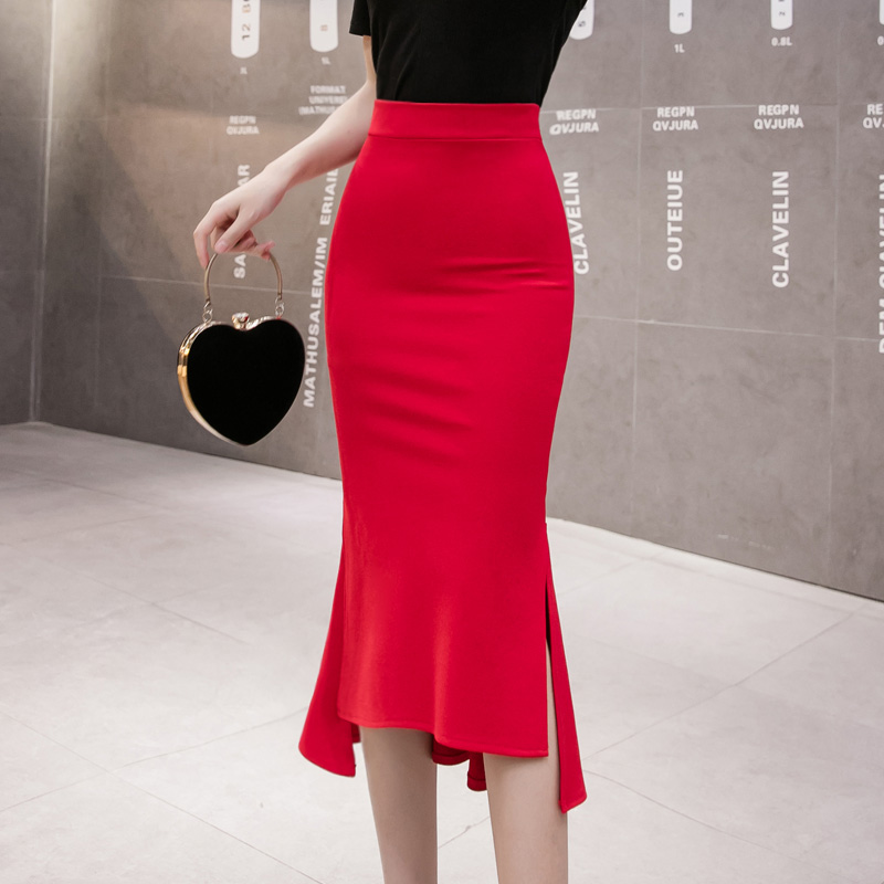 無地ポリエステルシンプルファッションカジュアル通勤/OLレトロ韓国系スリット一般春夏ハイウエストAラインスカート