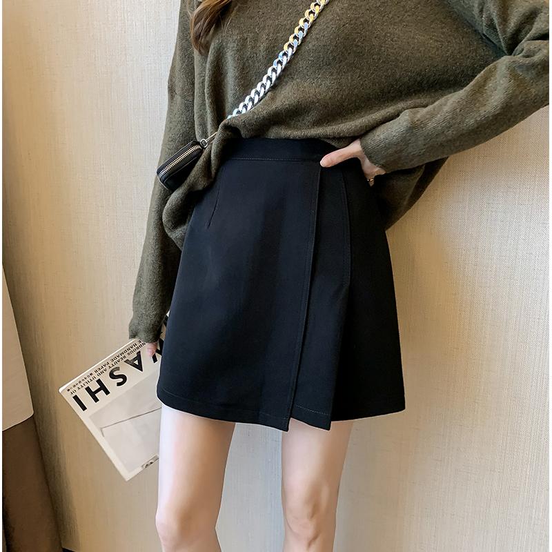 無地ポリエステルシンプルファッションカジュアルレトロ韓国系清新ギャザー飾り膝上春秋ハイウエストAラインスカート