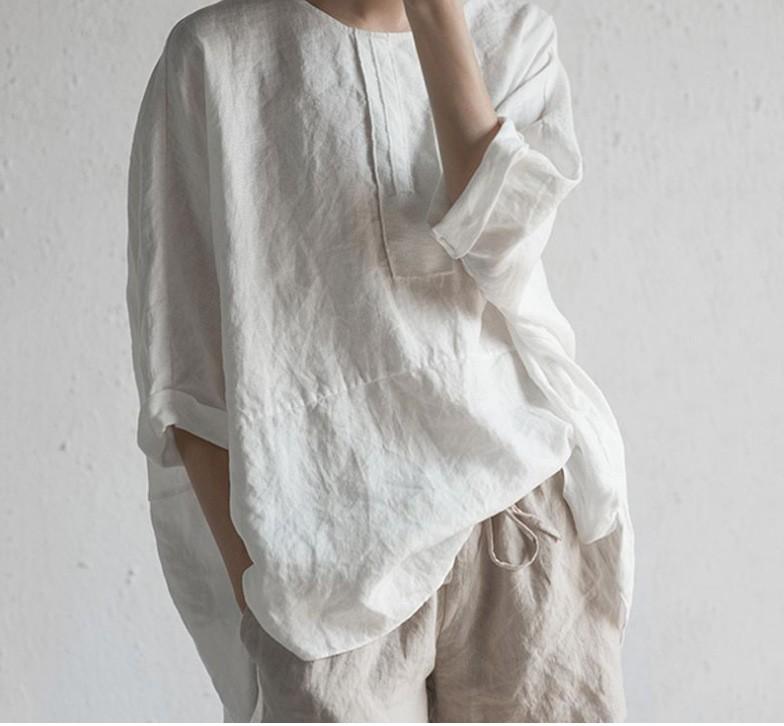 熱販売中!無地 中袖/五分袖 シンプル カジュアル 森ガール 春夏 ラウンドネック プルオーバー シャツ ブラウス 体型カバー ゆったり ノーカラー ワイシャツ