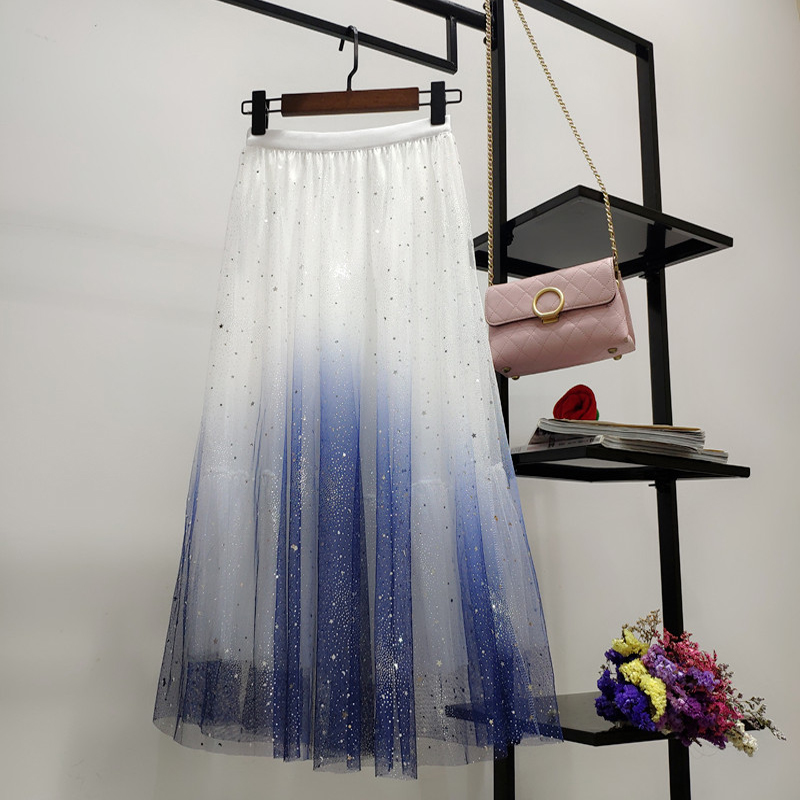 配色グラデーション色ファッション切り替えスパンコール春夏秋ハイウエストAラインスカート