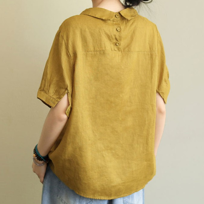 無地 森ガール 半袖 シンプル ファッション 切り替え 夏 折り襟 プルオーバー シャツ・ブラウス