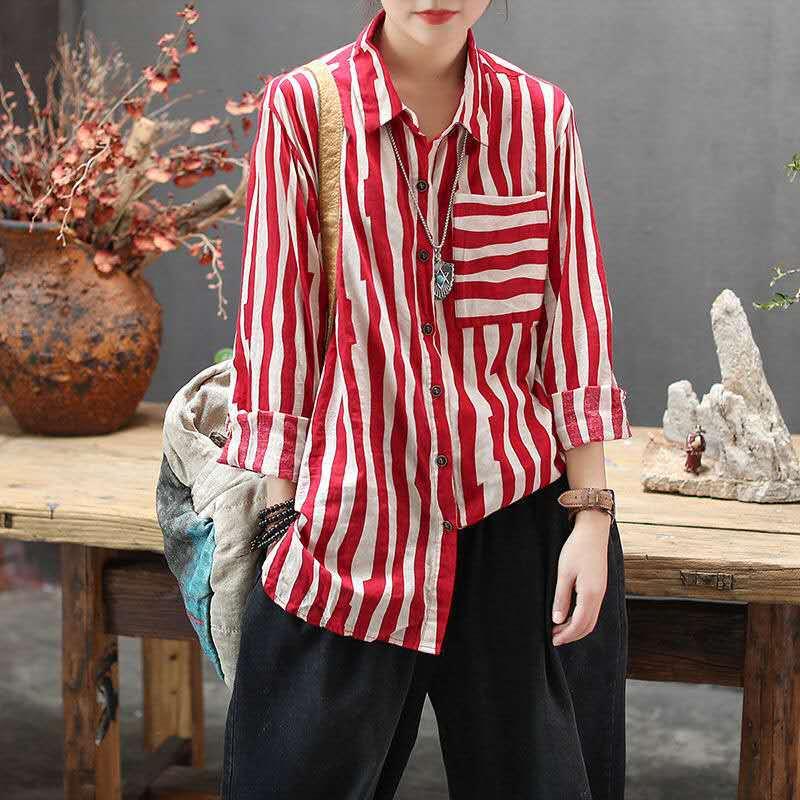 総柄 ストライプ柄 長袖 シンプル ファッション カジュアル 春夏秋 POLOネック シングルブレスト シャツ・ブラウス