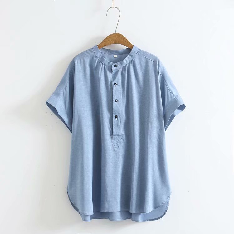 無地半袖シンプル定番カジュアル通勤/OL夏ラウンドネックボタンスカラップスリーブシャツ・ブラウス