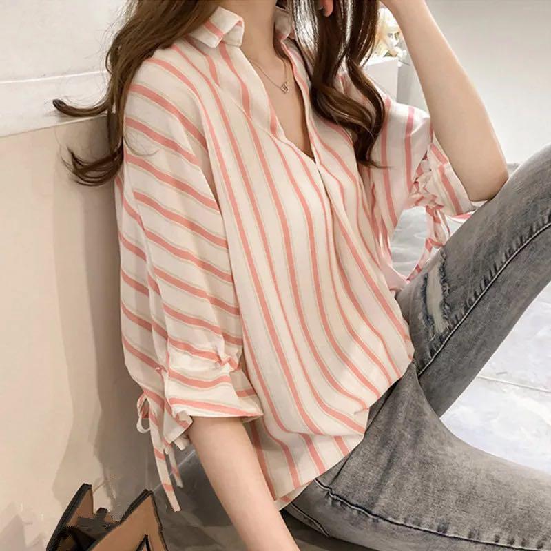 ストライプ柄 半袖 シンプル 切り替え 春夏 折り襟 シングルブレスト シャツ・ブラウス