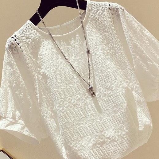無地半袖ファッションスウィートパフスリーブ夏ラウンドネックプルオーバーシャツ・ブラウス