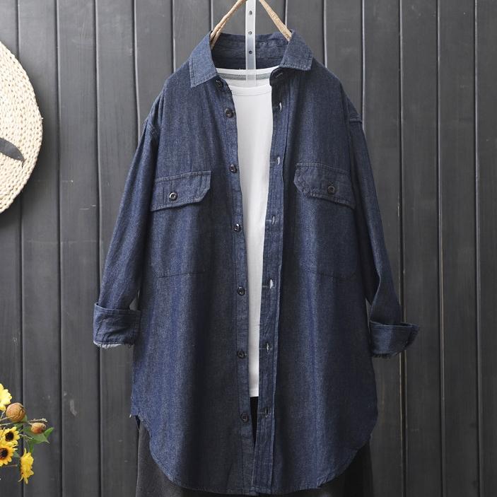 無地長袖シンプル一般切り替え一般夏折襟シングルブレストシャツ・ブラウス