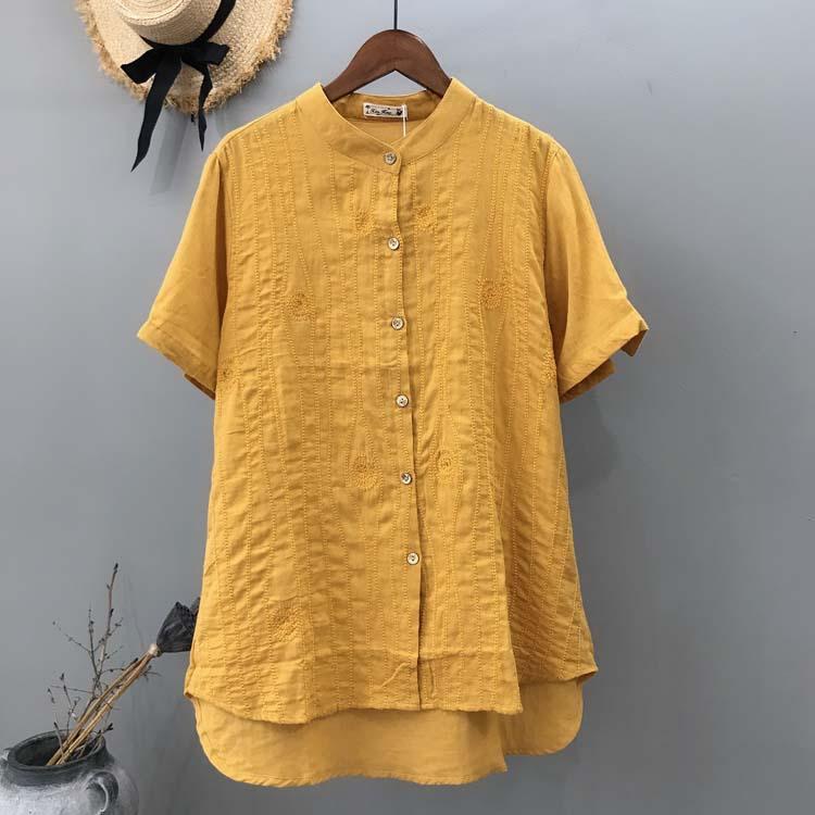 プリント 半袖 カジュアル 刺繍 夏 スタンドネック シングルブレスト シャツ・ブラウス