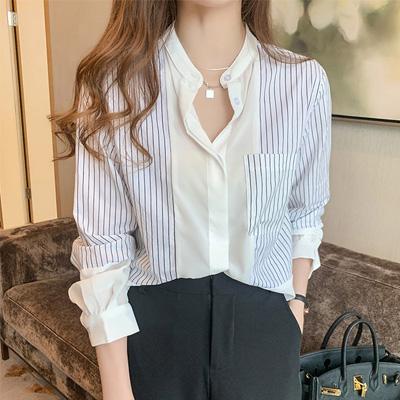 ストライプ柄長袖シンプルファッションカジュアル切り替えボタン一般夏Vネックシングルブレストシャツ・ブラウス
