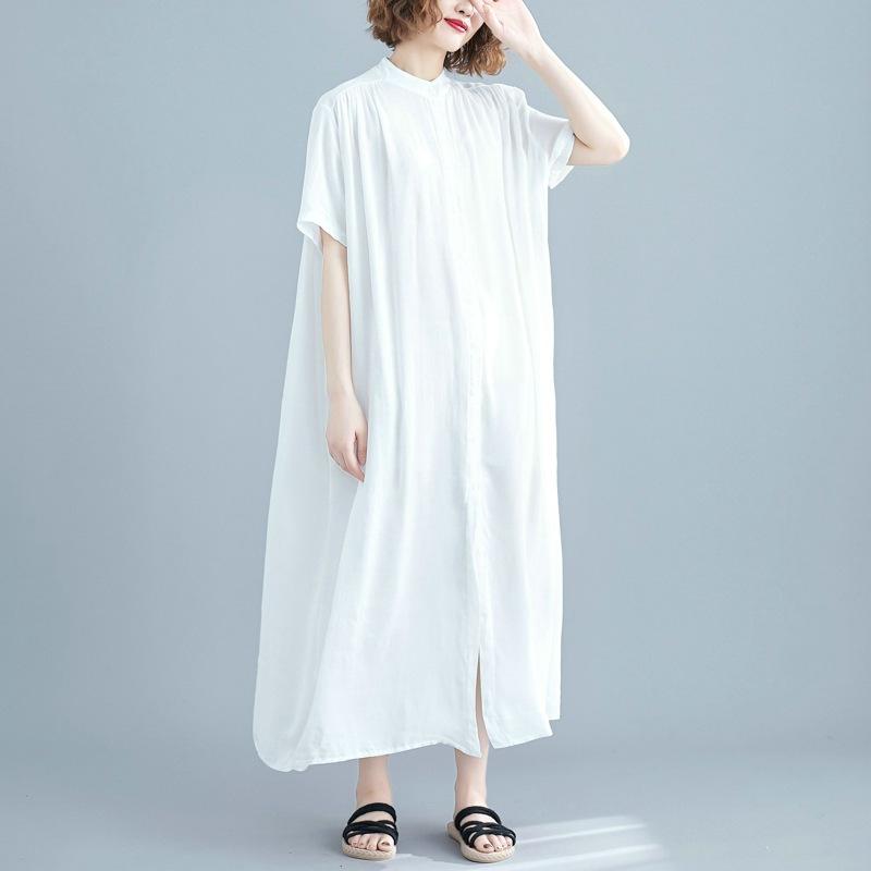 無地 半袖 シンプル すね丈 夏 スタンドネック シングルブレスト ハイウエスト ストレートスカート シャツ ワンピース