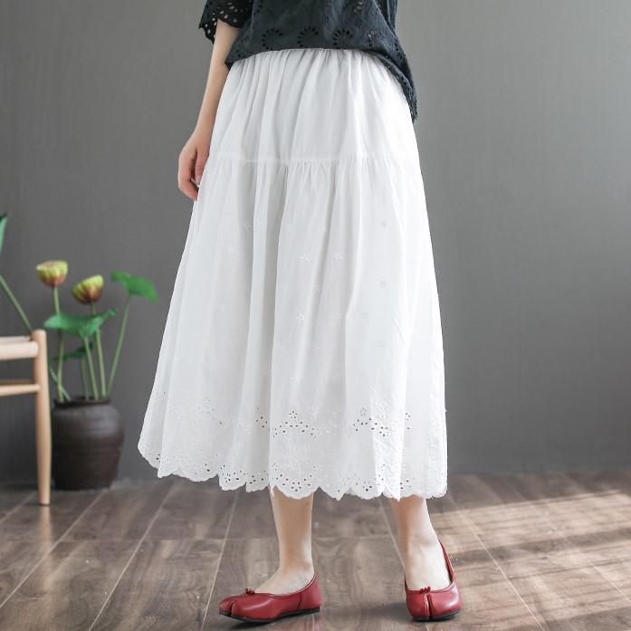 無地シンプルカジュアル森ガール刺繍透かし彫りすね丈春夏レギュラーウエストAラインスカート