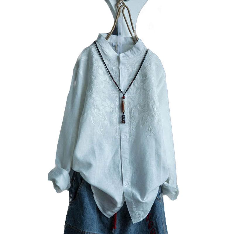 無地長袖レトロ一般刺繍一般春秋スタンドネックシングルブレストシャツ・ブラウス