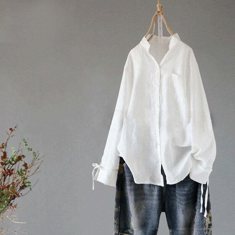 無地綿麻長袖シンプルボウタイ切り替えボタン春POLOネックシングルブレストホワイトブラックシャツ・ブラウス