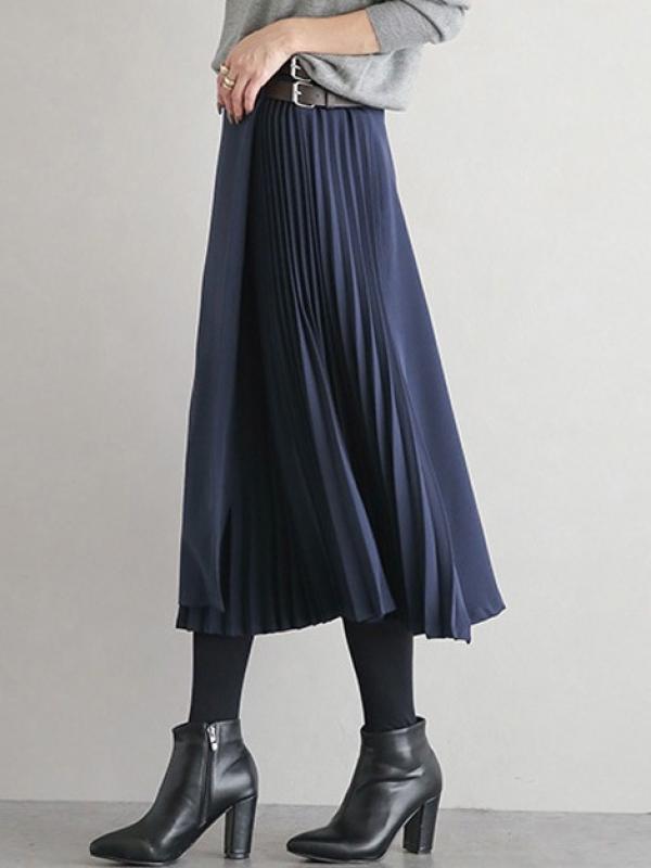 無地シンプル定番ファッション切り替えギャザー飾りベルト付きすね丈秋冬ハイウエストプリーツスカートスカート