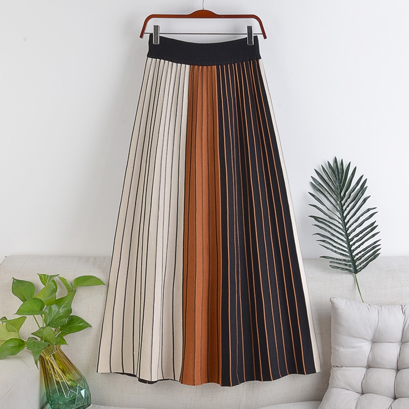 配色定番レトロ切り替えすね丈秋冬ハイウエストAラインスカート
