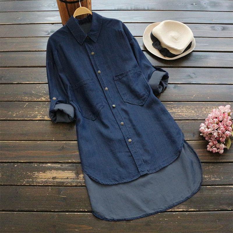 無地長袖シンプル一般ボタン一般春秋折襟ボタンシャツ・ブラウス