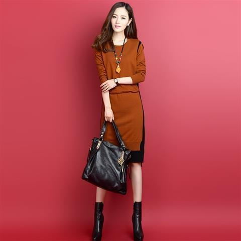 配色長袖ファッション一般切り替え膝下丈秋冬ラウンドネックプルオーバーレギュラーウエストスリムワンピースニットワンピース