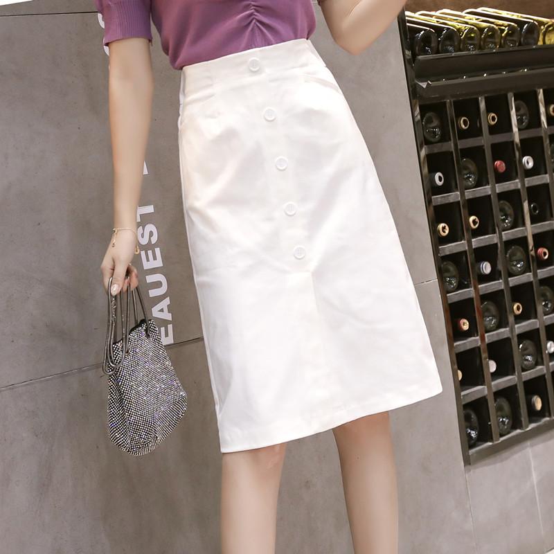 無地コットンファッション通勤/OLスリット膝丈夏ホワイトブラックレッドアプリコットハイウエストAラインスカート