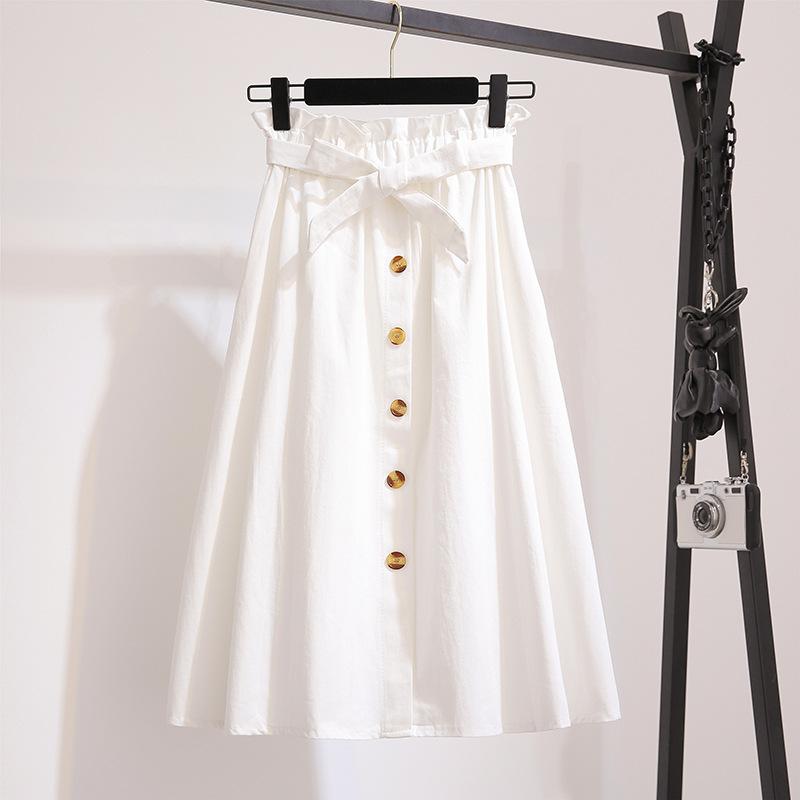 無地コットンシンプルスウィートリボン膝下丈春夏写真通りハイウエストAラインスカート