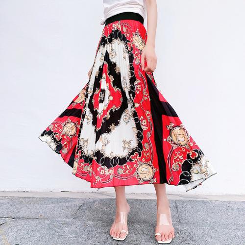 プリントポリエステルエスニック系ファッション切り替えすね丈春夏写真通りハイウエストプリーツスカートスカート