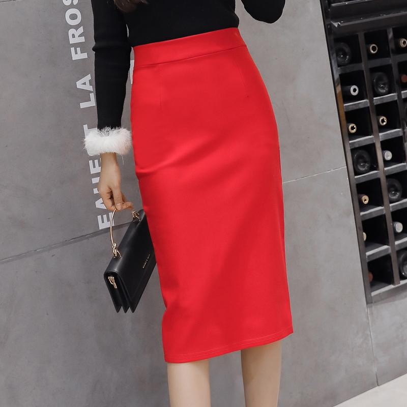 無地ポリエステルファッション切り替え一般春秋ブラックレッドハイウエストスリムワンピーススカート