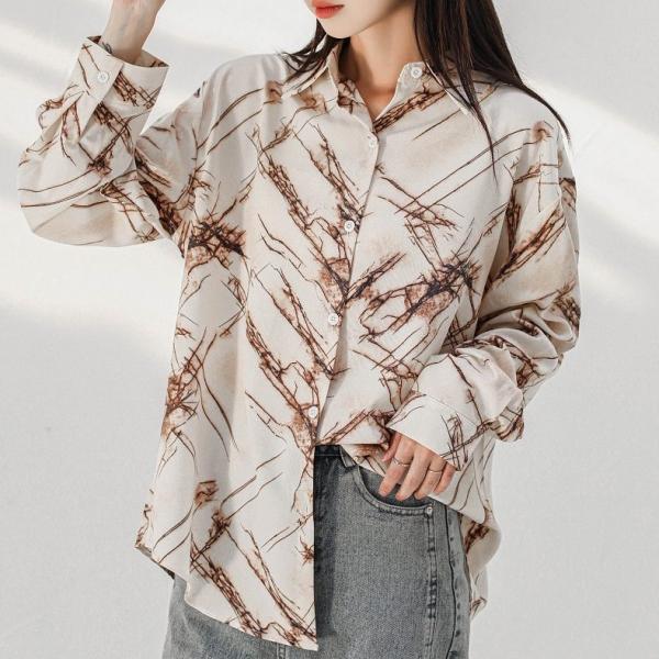 プリント総柄長袖ファッションカジュアルプリント春夏秋POLOネックシングルブレストシャツ・ブラウス