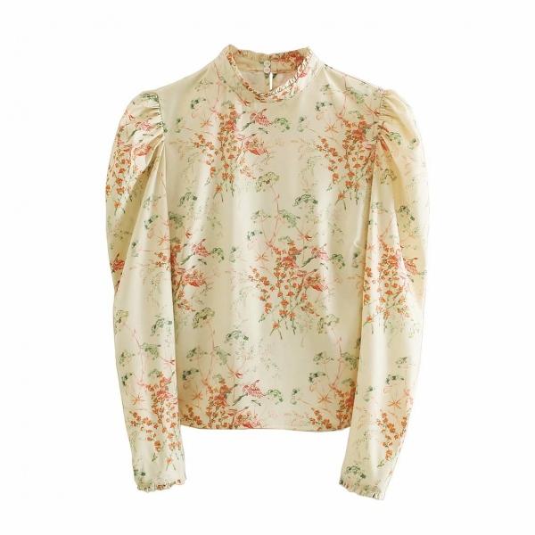 小柄長袖ファッションパフスリーブプリントギャザー飾り春スタンドネックプルオーバーシャツ・ブラウス