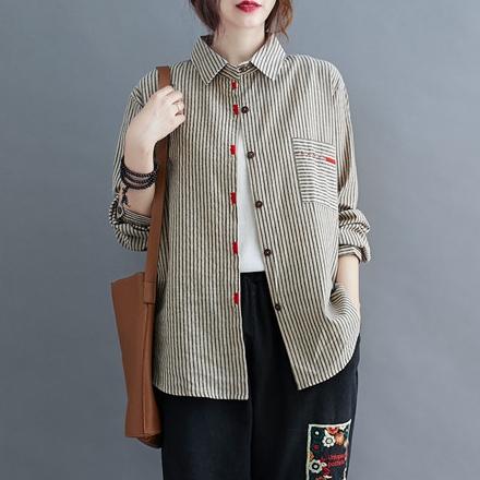 ストライプ柄長袖通勤/OL刺繍春POLOネックシングルブレストシャツ・ブラウス