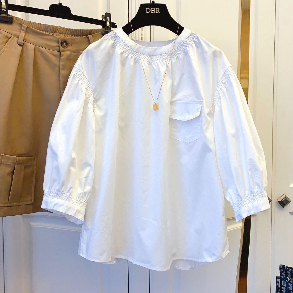 無地ファッションカジュアル切り替えギャザー飾り春夏ラウンドネックプルオーバー五分袖シャツ・ブラウス