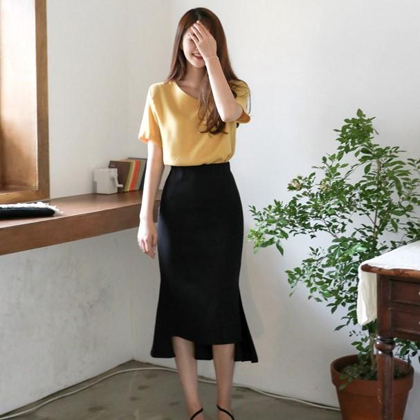 無地ニットファッション通勤/OL切り替えロング春夏写真通りハイウエストフィッシュテールスカート