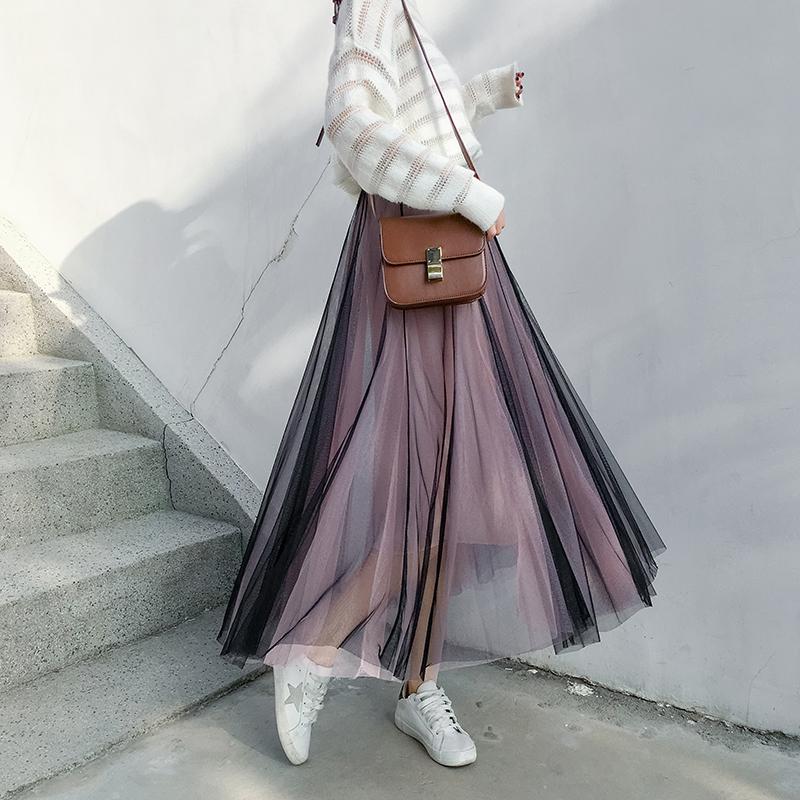 無地メッシュファッション切り替えロング夏春秋写真通りハイウエストAラインスカート
