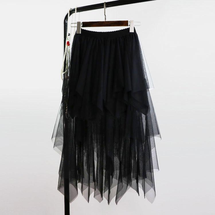 無地メッシュファッション切り替えロング春秋グレーブラックハイウエスト不規則スカート