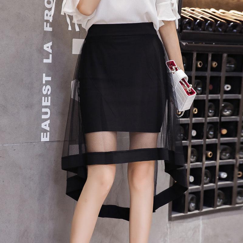 無地メッシュファッション切り替え一般春秋ブラックハイウエスト不規則スカート