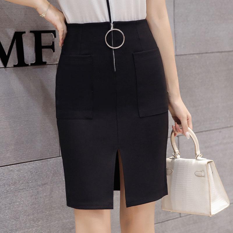 無地ポリエステルファッション切り替えスリット金属飾りファスナー膝上春夏ブラックハイウエストタイトスカートスカート