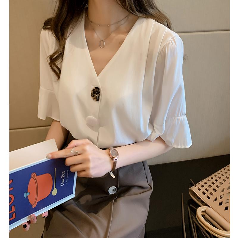 無地合成繊維半袖シンプルファッションスカタップスリーブスピーカースリーブ切り替え一般夏Vネックプルオーバーパープルシャツ・ブラウス