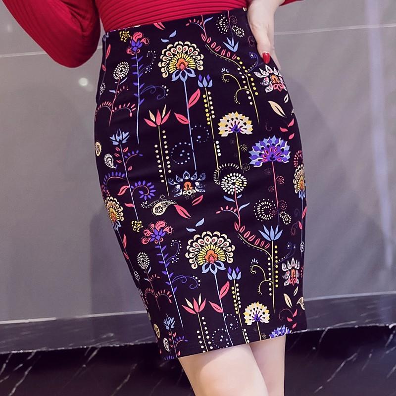 プリントファッション切り替え膝上夏ハイウエストタイトスカートスカート