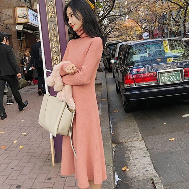 無地ニット長袖ファッション一般なし膝丈秋冬ハーフネックプルオーバーベージュブラウンオレンジハイウエストAラインニットワンピース