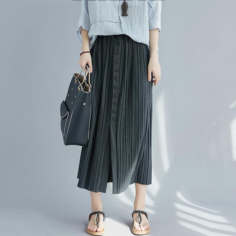 無地ポリエステルシンプルプラスサイズカジュアル切り替えすね丈春夏写真通りハイウエストAラインスカート