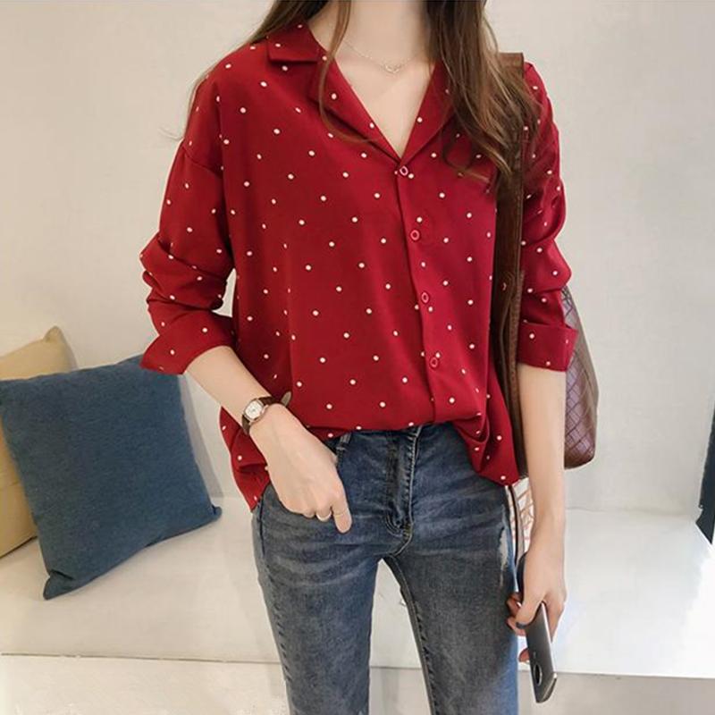 ドット柄シフォン長袖ファッション一般切り替え一般春秋折り襟ボタンレッドシャツ・ブラウス