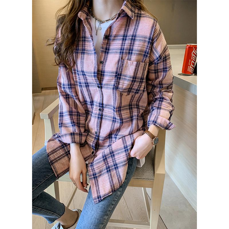 チェック柄合成繊維長袖シンプル一般なし一般春秋折り襟ボタンシャツ・ブラウス