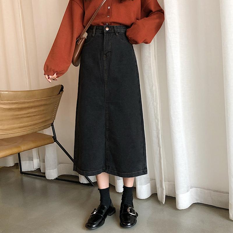 無地デニムファッション学園風森ガール清新ボタンロング春秋ブラックハイウエストAラインスカート